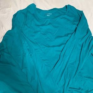 Teal long sleeve shirt scoop neck Ava and viv